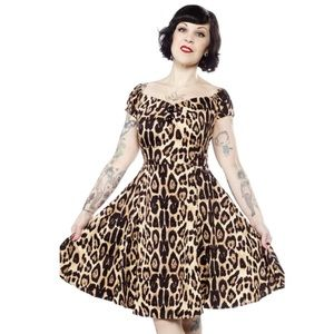 COLLECTIF MINI DOLORES DOLL DRESS LEOPARD PINUP